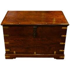 Antique teak brass bound travelling strongbox