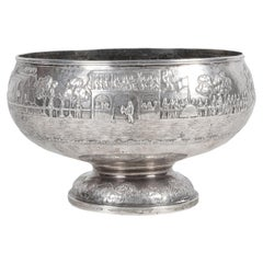 19th Century Indian Silver Bowl, with Horse Racing Scene