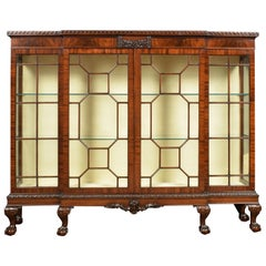 Chippendale revival mahogany breakfront cabinet