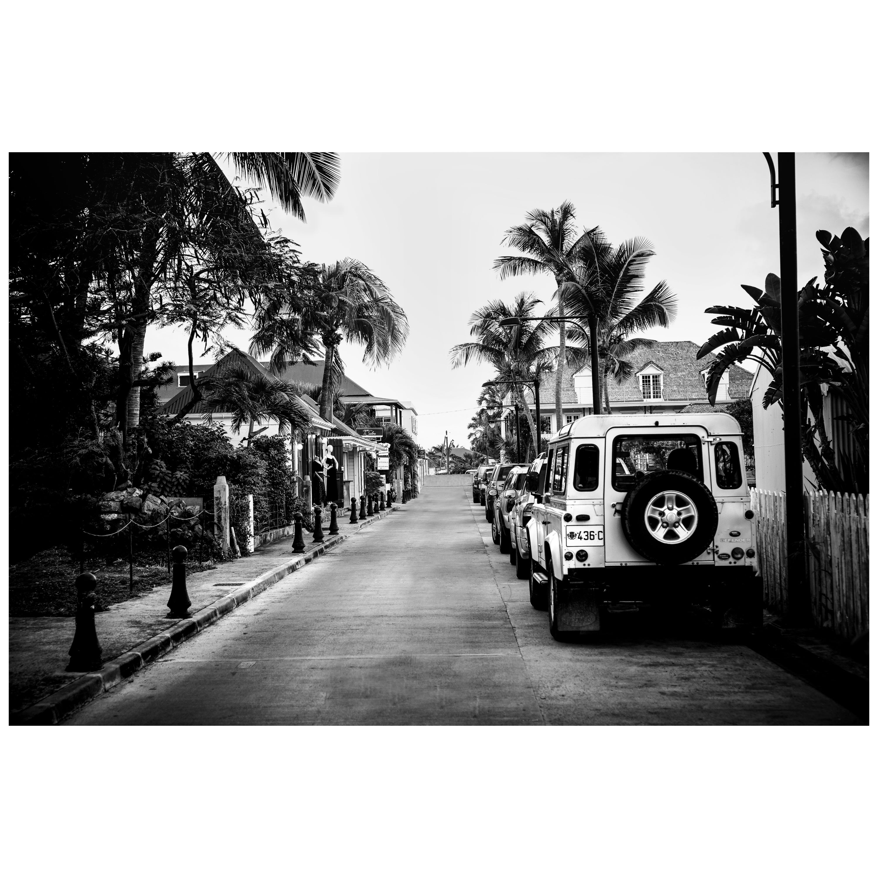 Land rover defender black and white photography st barth for sale at 1stdibs