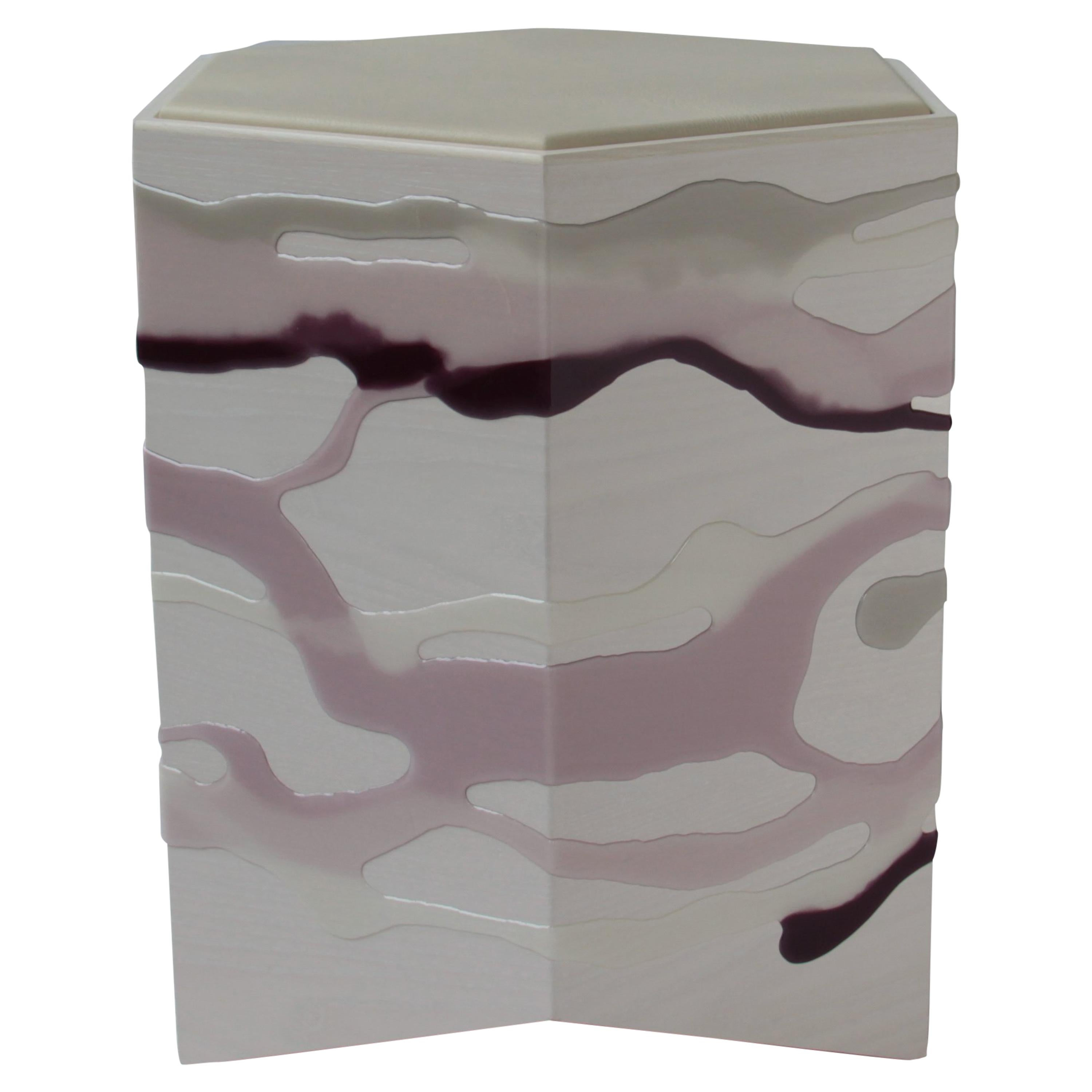 Custom Drip/Fold Side Table, Ash Plywood with Lavender Resin and Leather Top