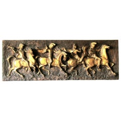 J. Segura Roman Soldiers on Horses Cast Resign Wall Sculpture, 1960s