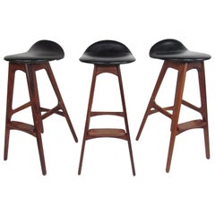 Exquisite Set of Three Midcentury Erik Buch Bar Stools