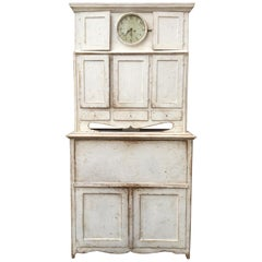 Light Gray Gustavian Clock Cabinet with Drop-Front Desk, Sweden, circa 1810