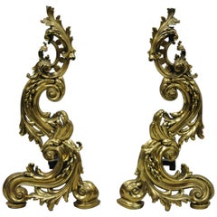 Large Impressive Antique French Rococo Baroque Style Acanthus Scroll Andirons