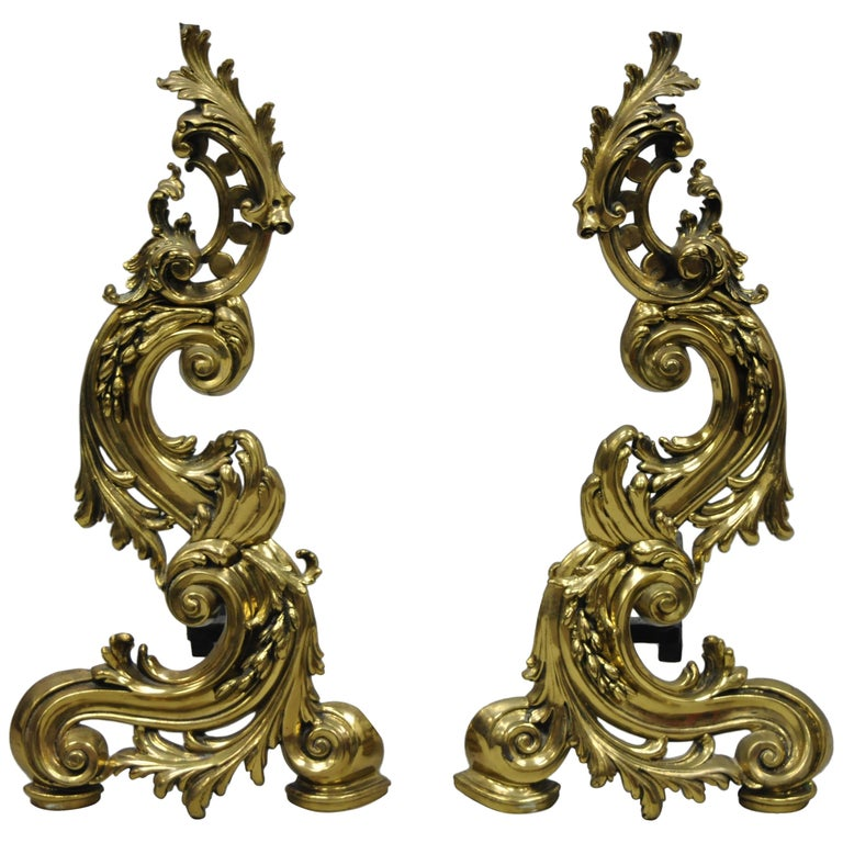 Large Impressive Antique French Rococo Baroque Style Acanthus Scroll Andirons For Sale
