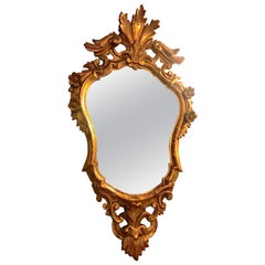 20th Century Italian Rococo Revival Giltwood Mirror with Scrolling Carving