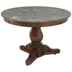 Antique French Centre-Hall Table in Walnut with a Grey Marble Top