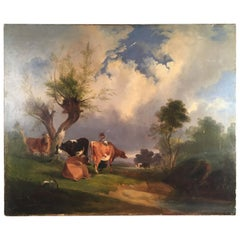 French Pastoral Scene, Oil on Canvas, 19th Century