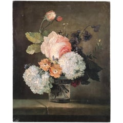Still Life Painting of Flowers, French 19th Century