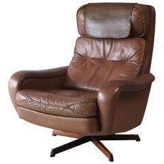 1960s Danish Midcentury Leather Swivel Lounge Chair