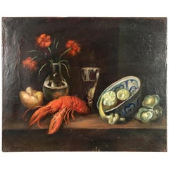 Still Life Painting, Lobster, French 19th Century