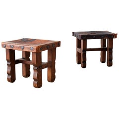 Pair of Spanish Colonial Walnut Stools with Leather Seats