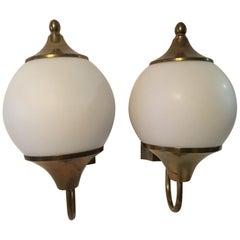 Lovely Pair of Milk Glass Brass Surrounded Bulb 1960s Art Deco Sconces