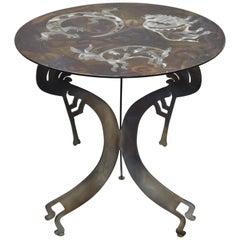 Signed Steel Metal Southwestern Kokopelli Bison Salamander Hare Round Side Table