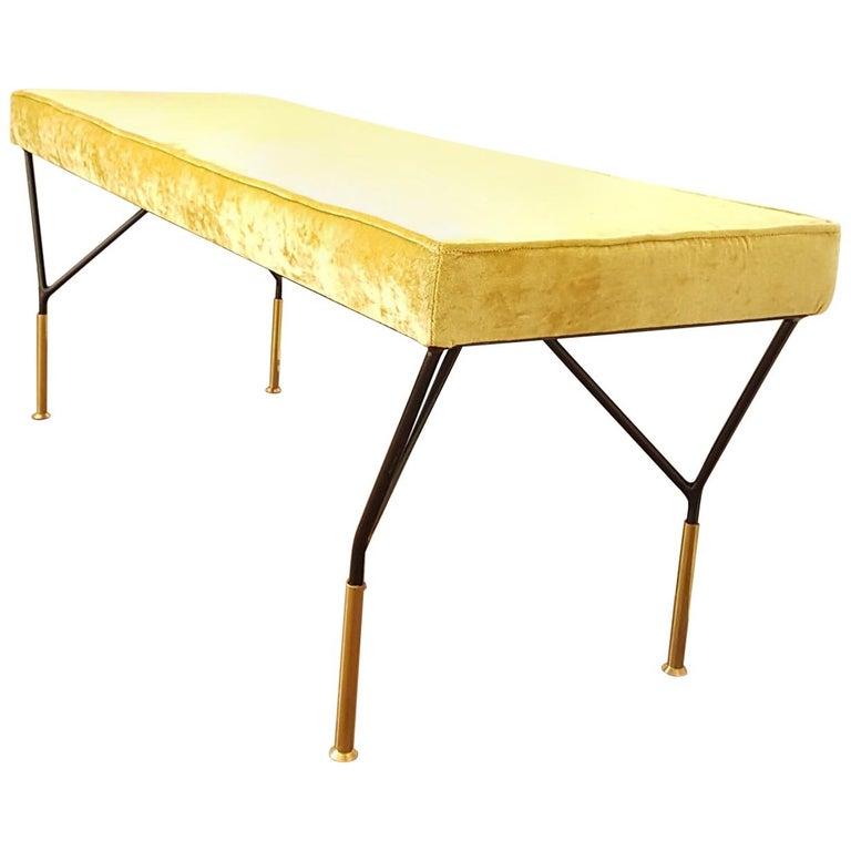 Mid-Century Modern Italian Bench, Reupholstered with Yellow Velvet, circa 1980s For Sale