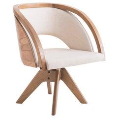 Flor Armchair, Contemporary Style, Rotating Wooden Brazilian Feet
