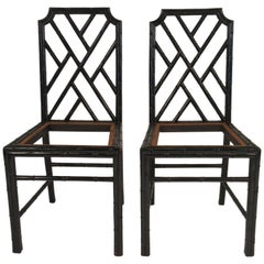 Pair of Faux Bamboo 1940s Side Chairs