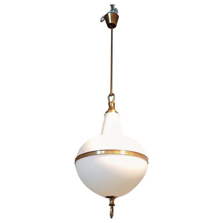 White Glass and Brass Mid-Century Modern Lantern, Stilnovo Style, 1960s For Sale
