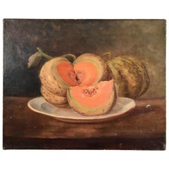 Still Life Painting, Melon, French, 19th Century