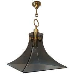 Mazzega Style Brass and Smoke Glass Chandelier, Beautiful Item