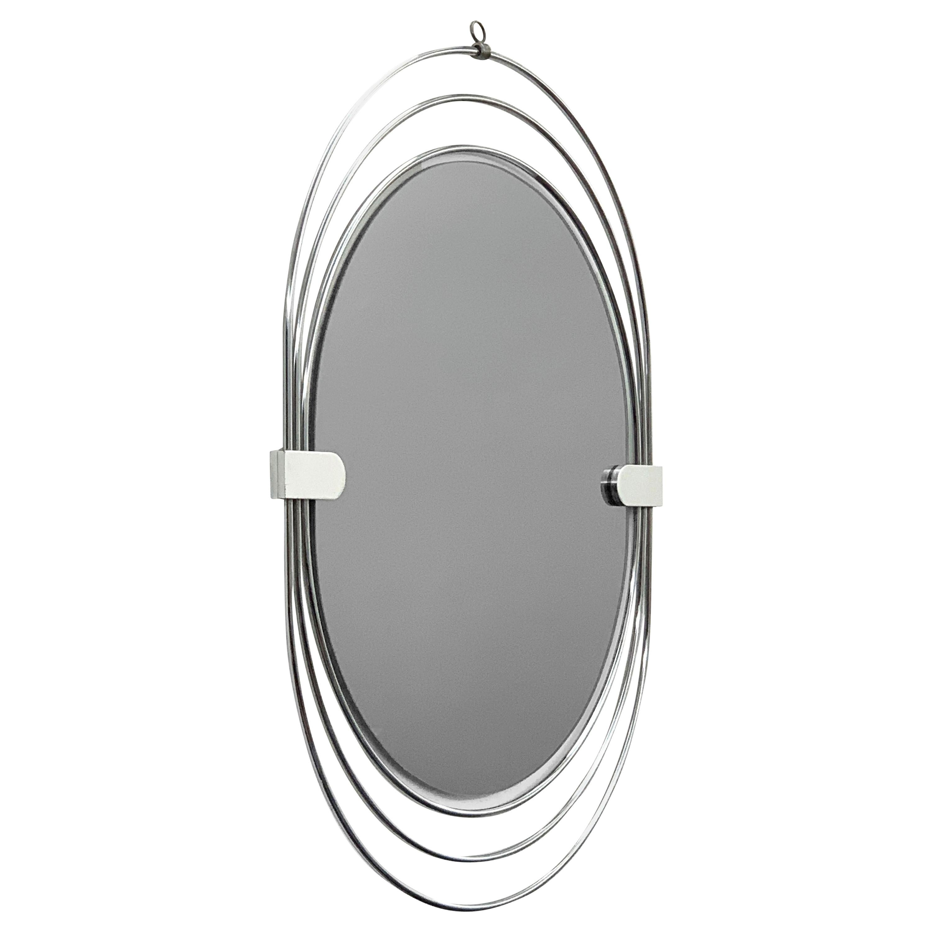 Oval Wall Mirror in Stainless Steel, Triple Frame, Smoked Mirror, Italy, 1970s