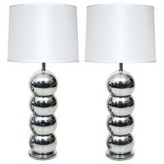 Pair of Chrome Ball Lamps