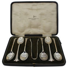Early 20th Century Cased Solid Silver Set of 6 Tea Spoons and Sugar Tongs