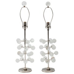 Nickel and Rock Crystal Orb Tree Lamps