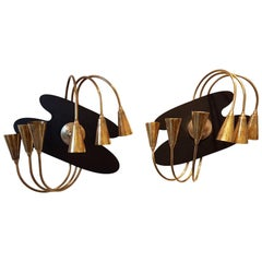 Pair of Large Brass Mid-Century Modern Wall Sconces, Stilnovo Style, 1960