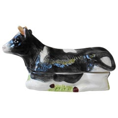 Majolica French Ceramic Cow Tureen Caugant