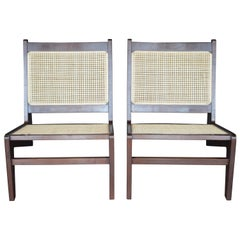 Pair of Cane Chairs in the Style of Pierre Jeanneret