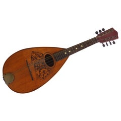 Antique Victorian Mandolin with String Inlay, Tortoise Pick Guard