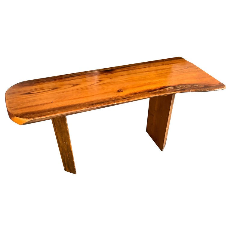 Small Californian Live Edge Bench in Solid Wood For Sale