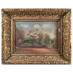 Painting of Church Wall and Garden, French, 19th Century