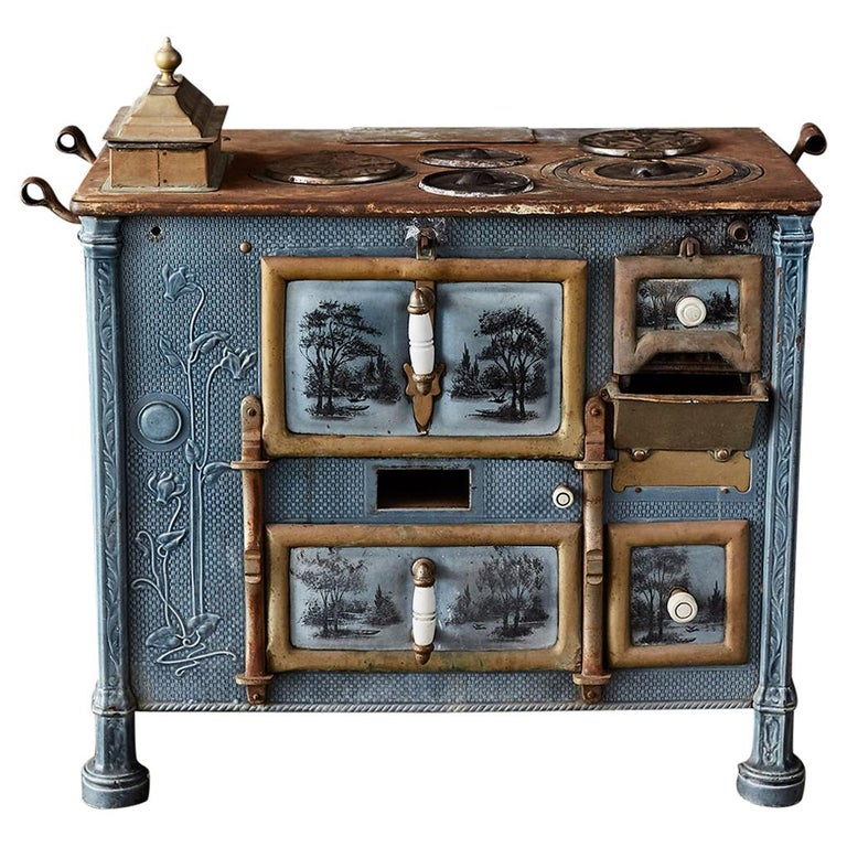 French Art Nouveau Enameled Blue Stove or Oven For Sale
