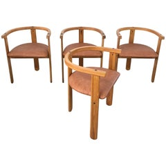 Set of Four Oak Dining Chairs, Style of Carlo Scarpa, circa 1968