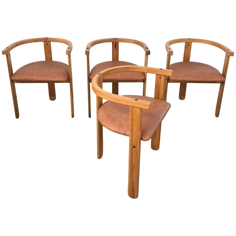 Set of Four Oak Dining Chairs, Style of Carlo Scarpa, circa 1968 For Sale