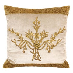 Antique Ottoman Empire Raised Gold Metallic Embroidery on Silver Velvet Pillows