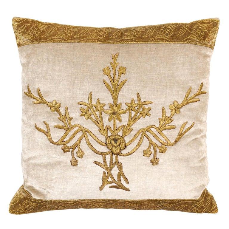 Antique Ottoman Empire Raised Gold Metallic Embroidery on Silver Velvet Pillows For Sale