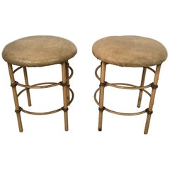 Pair of Stools Distressed Midcentury Stools