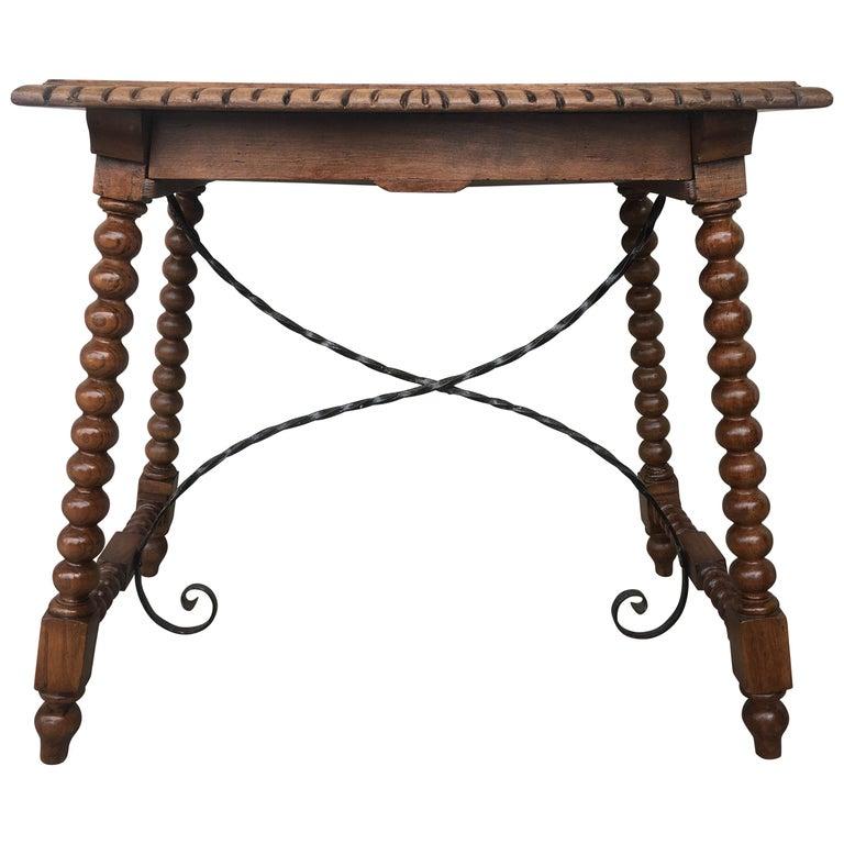 19 Jahrhundert Spanisch Bauernhof Tisch Mit Eisen Bahren Hand