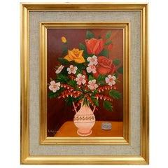 Lawrence Lebduska Floral Still Life Painting, 1932