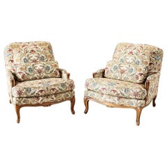 Pair of Baker Louis XV Provincial Style Bergeres