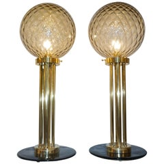 Italian Pair of Art Deco Design Amber Gold and Black Murano Glass Brass Lamps