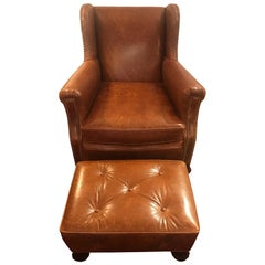 Deliciously Supple Leather Club Chair and Ottoman