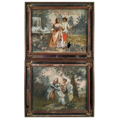 Pair of Romantic Style Églomisé Paintings, 19th Century