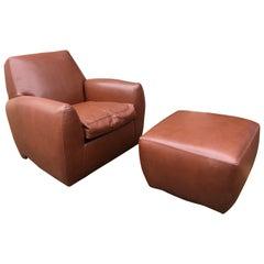 Dakota Jackson Leather Ke-Zu Swivel Club Chair and Ottoman, 1988