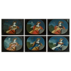 Collection of 6 Églomisé Zodiac Paintings, French, 19th Century