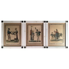 Set of 3 Prints, Food Vendors, French, 19th Century